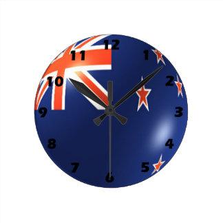 Conception de drapeau de la Nouvelle Zélande Horloge Ronde