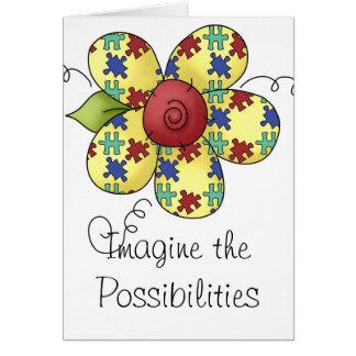 Conception de fleur de morceaux de puzzle de carte de vœux