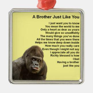 Conception de gorille - poème de frère ornement carré argenté