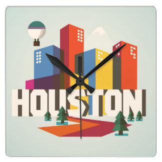Conception de Houston, paysage urbain du Texas   Horloge Carrée