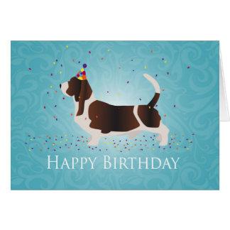 Conception de joyeux anniversaire de Basset Hound Carte De Vœux