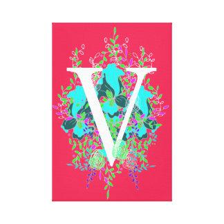 Conception de lettre florale initiale espiègle et toile