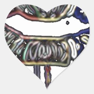 Conception de lèvres d'arc-en-ciel sticker cœur