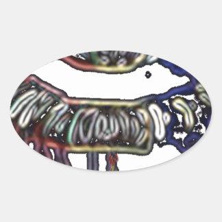Conception de lèvres d'arc-en-ciel sticker ovale