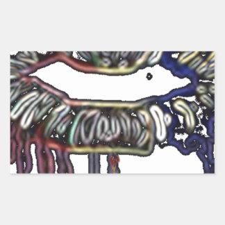 Conception de lèvres d'arc-en-ciel sticker rectangulaire