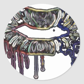 Conception de lèvres d'arc-en-ciel sticker rond