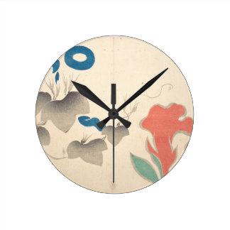 Conception de Matin-gloire et d'autres fleurs Horloge Ronde
