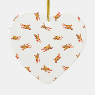 Conception de motif de collage de photo de crabes ornement cœur en céramique