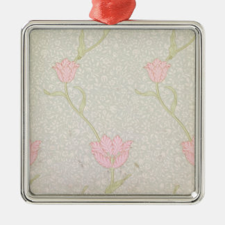 """Conception de papier peint """"de tulipe de jardin"""", ornement carré argenté"""