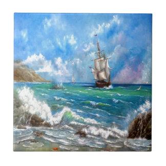 Conception de paysage marin de bateau de petit carreau carré