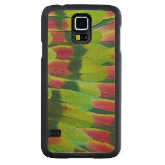 Conception de plume de vert de perroquet d'Amazone Coque Slim Galaxy S5 En Érable