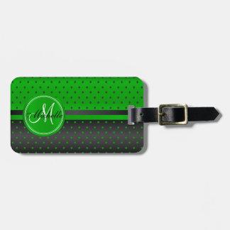 Conception de point de polka de vert et de noir de étiquettes bagages