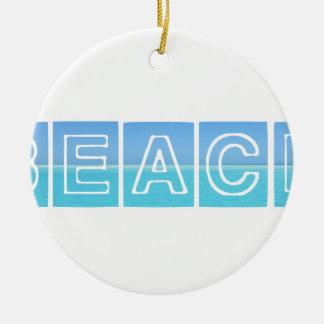 Conception de Sillouette de plage bleue et belle Ornement Rond En Céramique