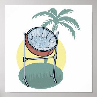 conception de tambour métallique et de palmier posters