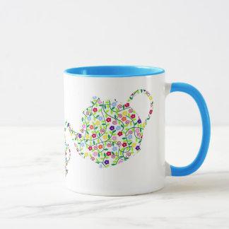 Conception de tasse de théière de fleur