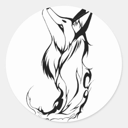 Conception de tatouage de Fox de tribal Autocollants Ronds