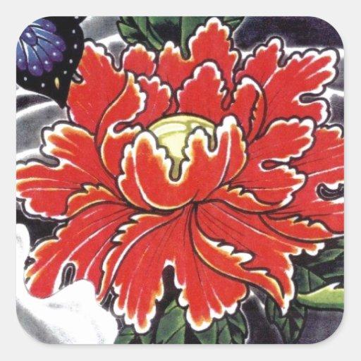 Conception de tatouage de Japonais de fleur de Autocollant Carré