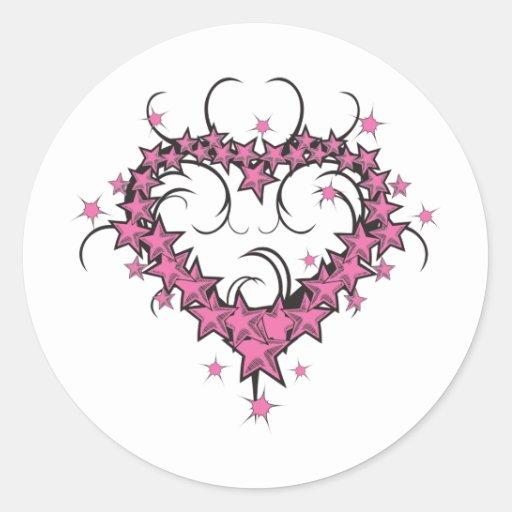 Conception de tatouage d 39 toiles de forme de coeur sticker rond zazzle - Tatouage de coeur ...