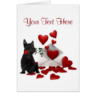Conception de Valentine de rose rouge de chiot de Carte De Vœux