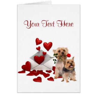 Conception de Valentine de rose rouge de Terrier Carte De Vœux