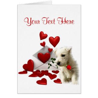 Conception de Valentine de rose rouge de Westie Carte De Vœux