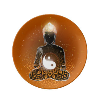 Conception de Ying Yang de méditation de Bouddha Assiette En Porcelaine