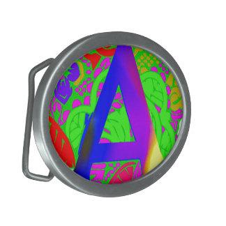 Conception décorée d'un monogramme florale vintage boucle de ceinture ovale