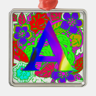 Conception décorée d'un monogramme florale vintage ornement carré argenté
