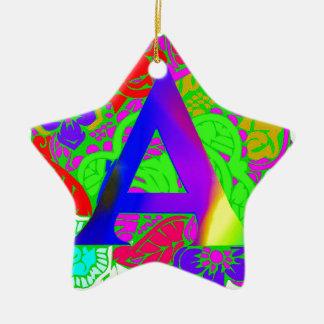 Conception décorée d'un monogramme florale vintage ornement étoile en céramique