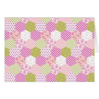 Conception d'édredon de patchwork de vert de rose cartes de vœux