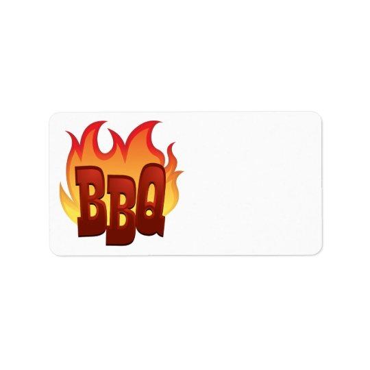 conception des textes de flamme de BBQ Étiquette D'adresse