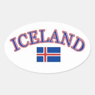 Conception du football de l'Islande Sticker Ovale
