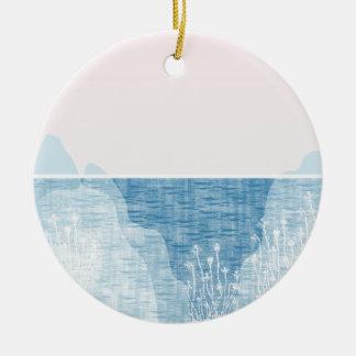 Conception en pastel de paysage de mer ornement rond en céramique
