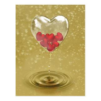 Conception en verre romantique de coeur - carte