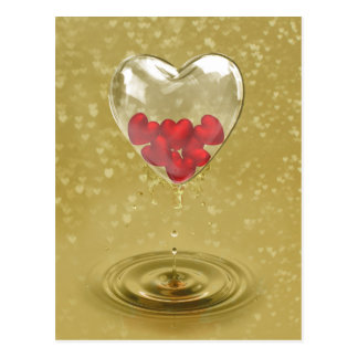 Conception en verre romantique de coeur - carte cartes postales