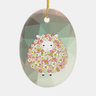 Conception fleurie de moutons de ton en pastel ornement ovale en céramique