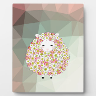 Conception fleurie de moutons de ton en pastel plaque photo