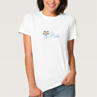 Conception florale bleue de jeune mariée t-shirt