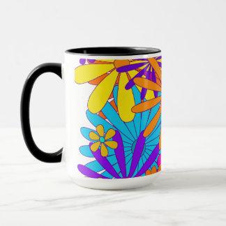 Conception florale colorée de fleurs de tasse de