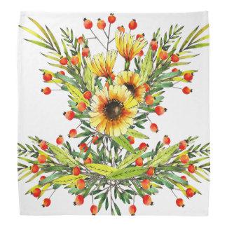 Conception florale d'aquarelle de tournesols et de bandanas