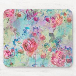 Conception florale d'aquarelles de peinture de tapis de souris