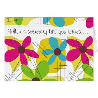 Conception florale de secrétaire Retirement Card Carte De Vœux