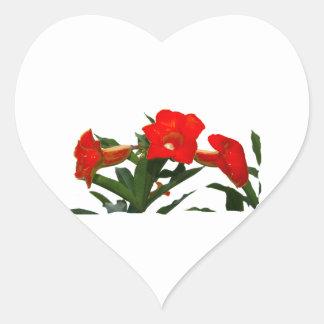 Conception florale de trompette de fleurs de photo autocollant en cœur