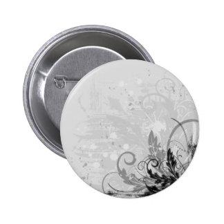 Conception florale grunge - B&W gris-clair Badge Rond 5 Cm