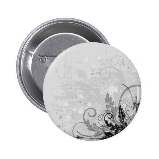 Conception florale grunge - B&W gris-clair Pin's