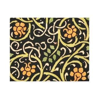 Conception florale noire d'impression d'art de toiles