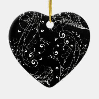 Conception florale noire et blanche ornement cœur en céramique