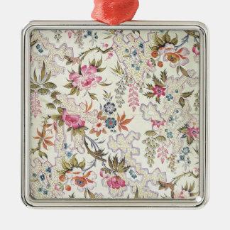 Conception florale pour le matériel en soie avec ornement carré argenté