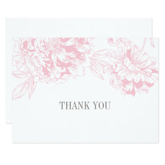 Conception florale rose plate de pivoine des carton d'invitation 8,89 cm x 12,70 cm