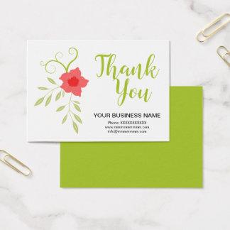 Conception florale verte de carte de remerciements